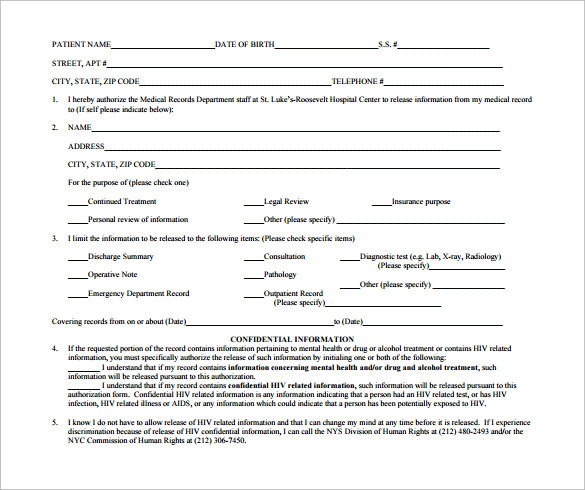 downloadable hospital release form