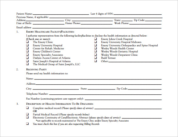 hospital release form pdf download