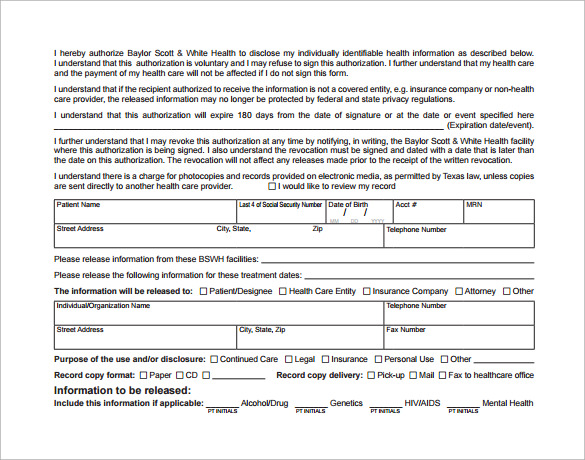 authorized hospital release form free download
