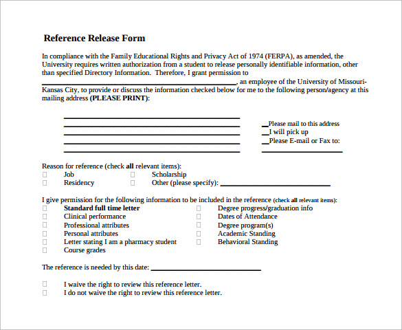 Sample Reference Release Form   Download Free Documents In Pdf