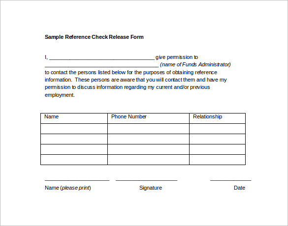 Sample Reference Release Form - 13+ Download Free Documents In Pdf