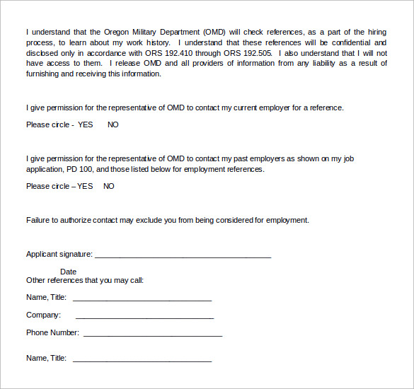 free reference release form doc