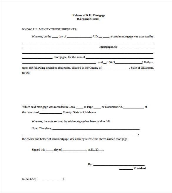 printable release of mortgage form for free