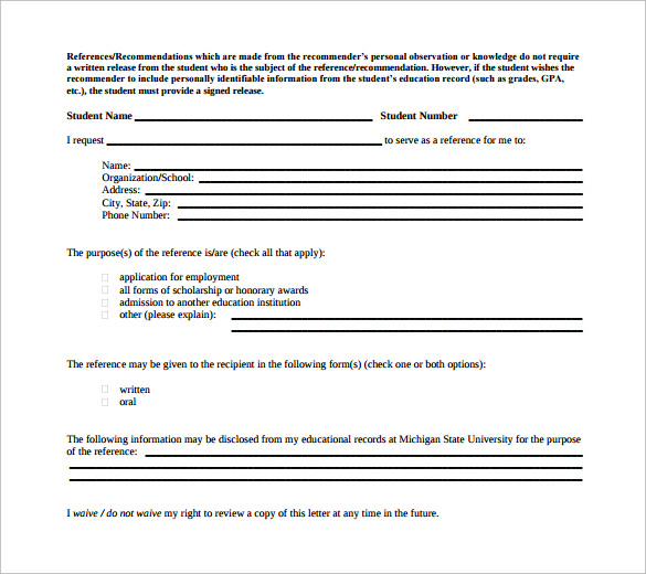 student release form for download