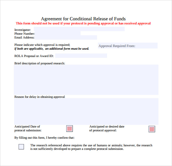 Sample Conditional Release Form - 14+ Download Free Documents In