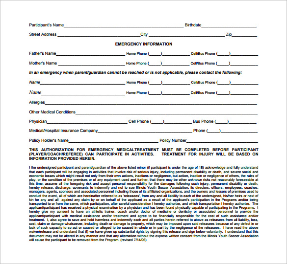 Sample Emergency Release Form   Download Free Documents In Pdf Word