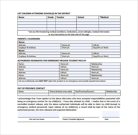 Sample Emergency Contact Forms to Download