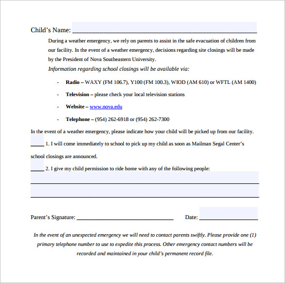 emergency weather release form free download