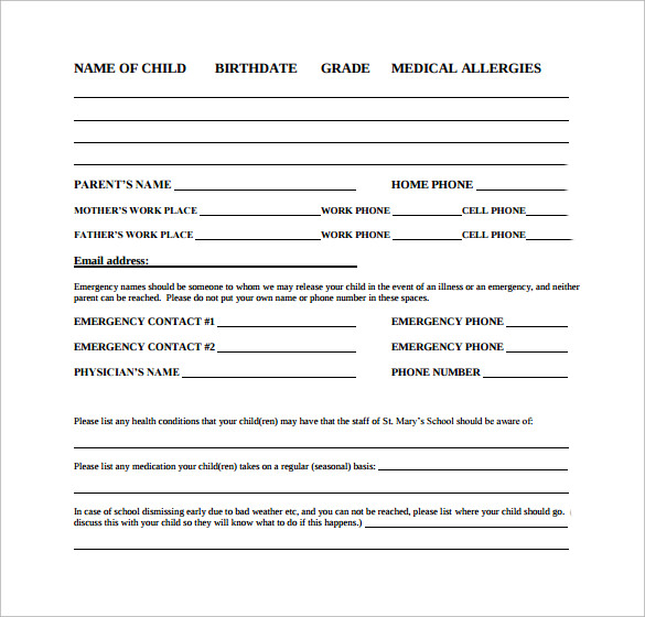 student emergency release form free pdf