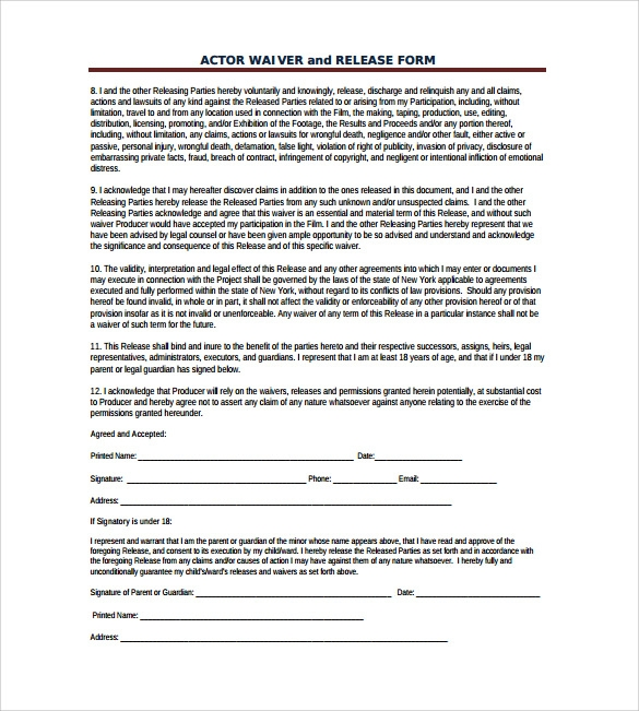acting contract template - 10 film release form templates to download for free