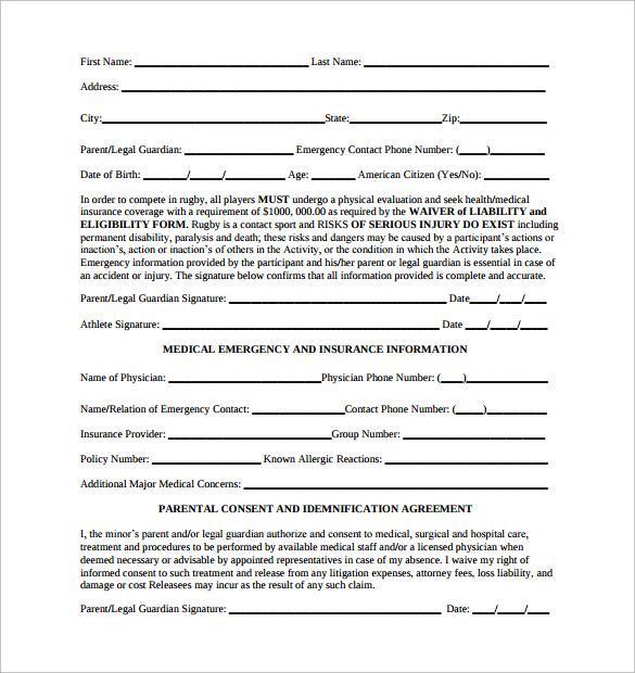 emergency medical release form pdf