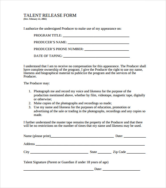 Sample Film Release Form   Download Documents In Pdf
