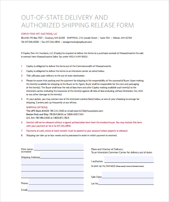 Ups Signature Release Form   Download Free Documents In Pdf