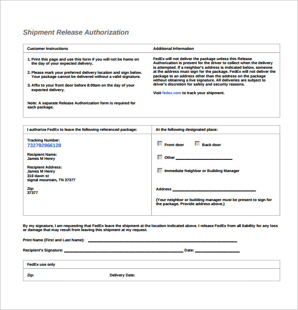 UPS Signature Release Form 9 Download Free Documents in PDF
