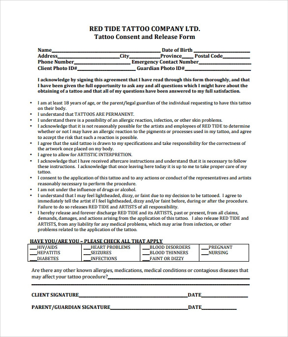 Tattoo Consent Form Template. Sample Tattoo Release Forms 8 Free