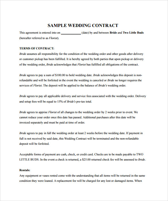 Sample Wedding Contract   Documents In Pdf Word