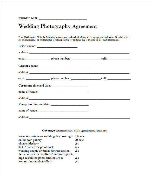 Wedding Photography Contract Template Download Photography Event