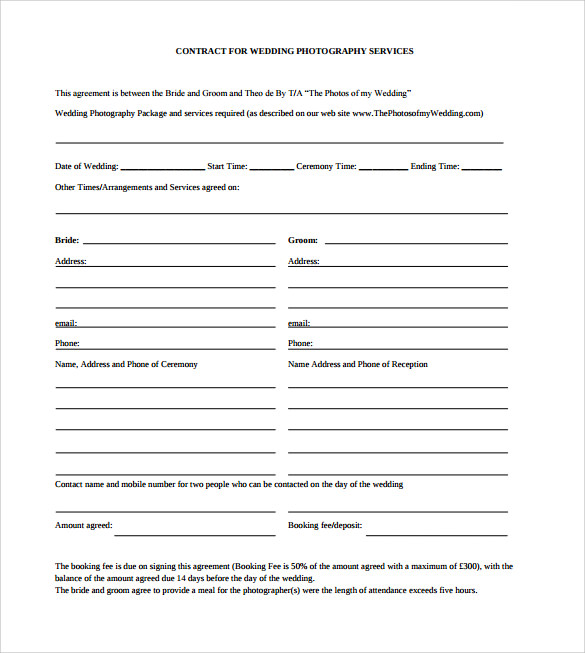 Free Wedding Photography Contract Pdf: Free , Examples , Format