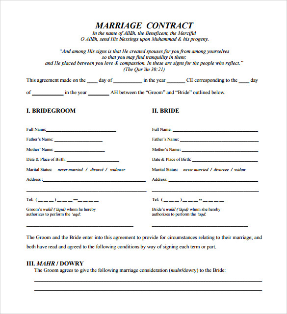 Sample Wedding Contract To Download In PDF Format
