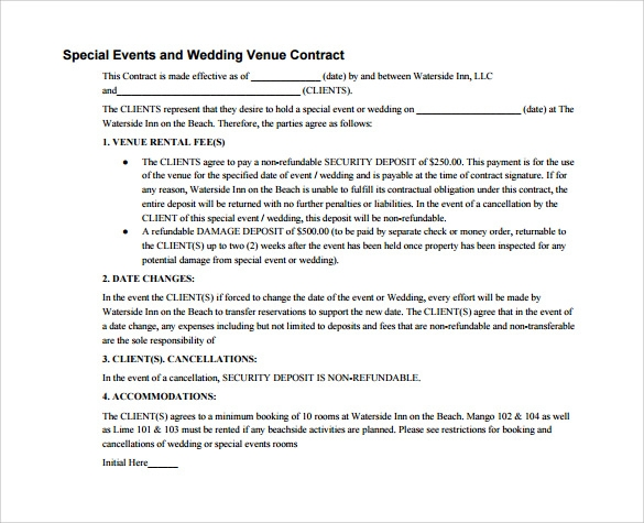 Wedding Venue Contract  PetitComingoutpolyCo