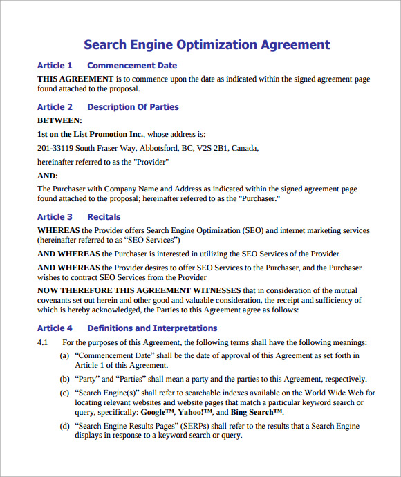 Sample Seo Contract   Documents In Pdf