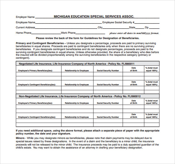 sample beneficiary release form