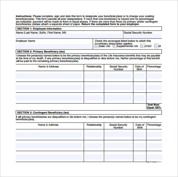 simple benificiary release form to download