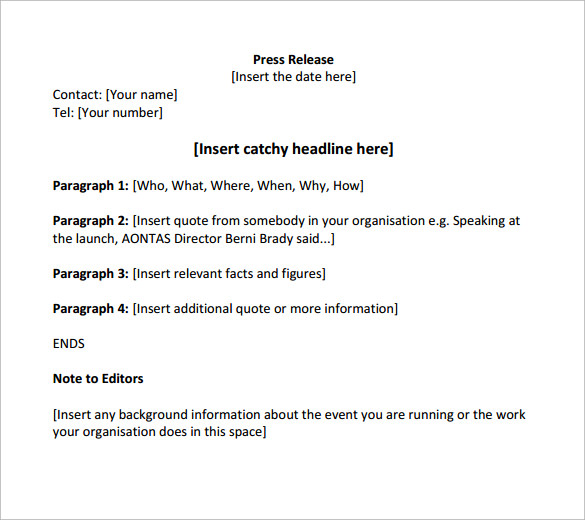Press release template 13 download free documents in for Press release brief template