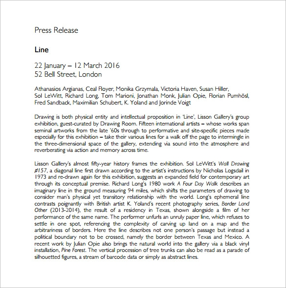 press release sample free download