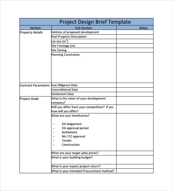 Sample Project Brief Template   Free Documents In Pdf Word