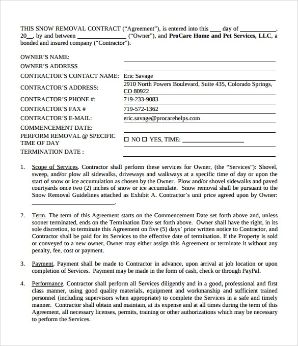 Snow Plowing Contract Template   Download Free Documents In Pdf