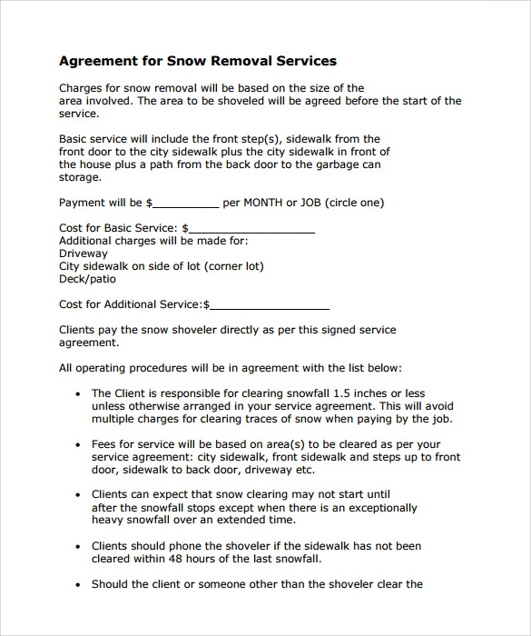Snow Plowing Contract Template 7 Download Free Documents in PDF – Snow Plowing Contract Template