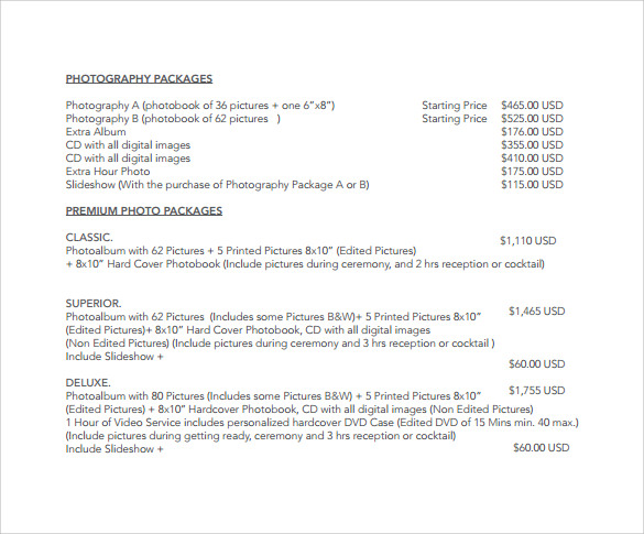 price list in word