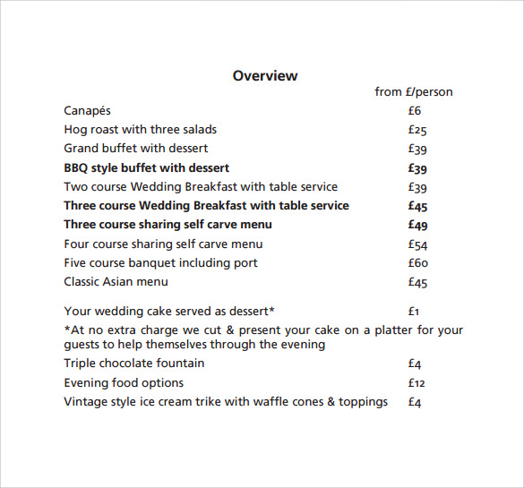 Free Printable PDF Wedding Price List Breakfast Catering