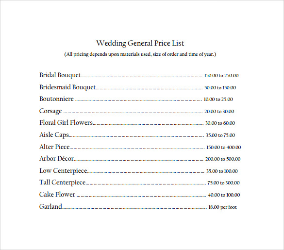download general wedding price list for free