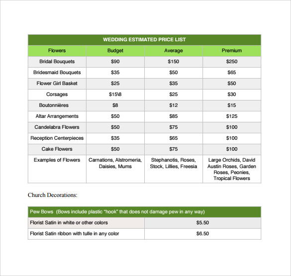 wedding estimated price list download pdf for free