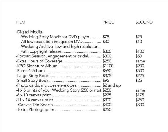 printable wedding price list pdf for free