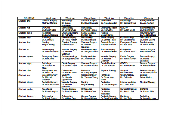 Sample Rotation Schedule Template - 16+ Free Documents in PDF, Word