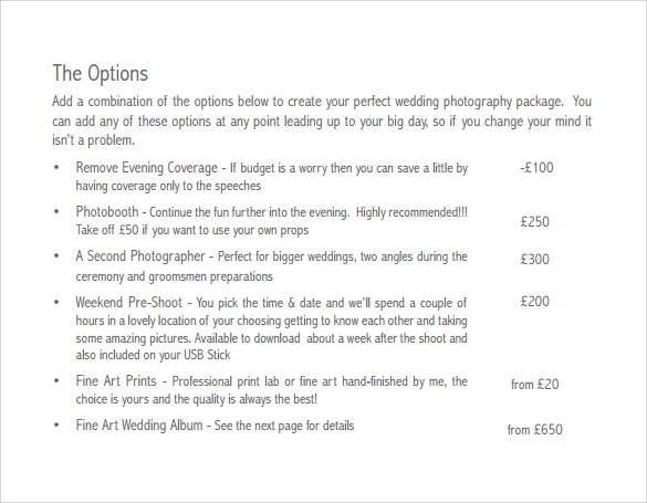 example of wedding price list free download