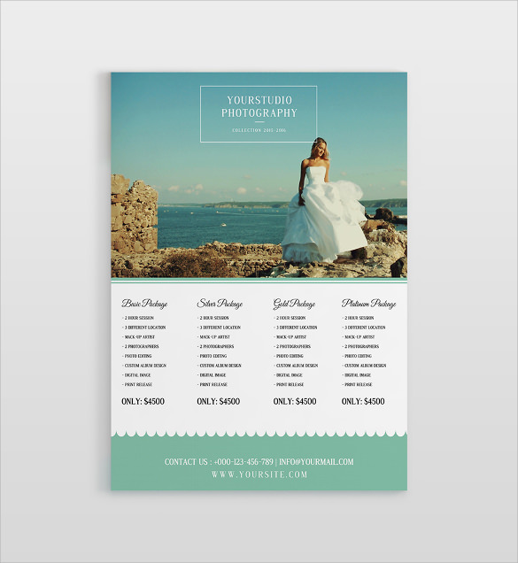 wedding photo price list psd photoshop