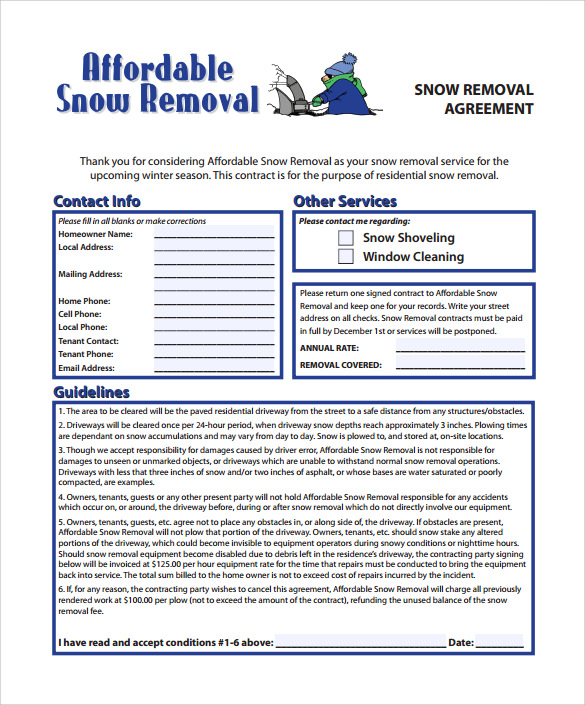 Free Snow Plowing Contract Template