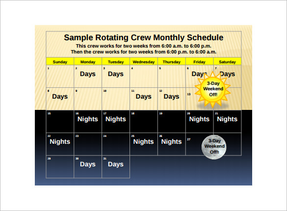 rotating crew monthly schedule
