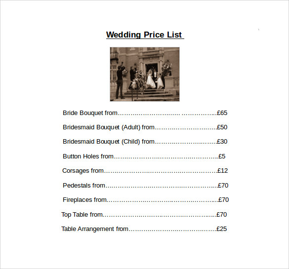 wedding price list free download in word