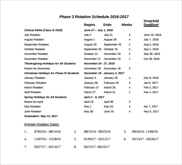 phase 3 rotation schedule