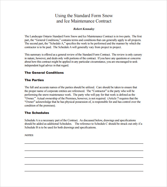 Snow Plowing Contract Template 6 Download Documents In Pdf Word