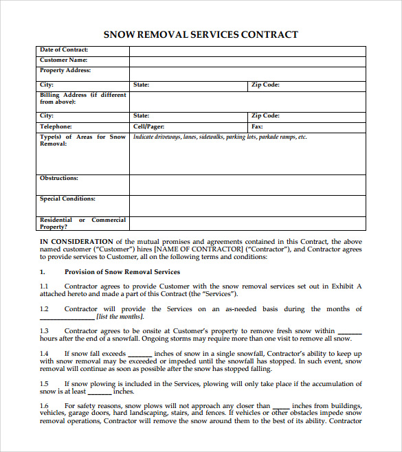 Simple Snow Plowing Contract Template