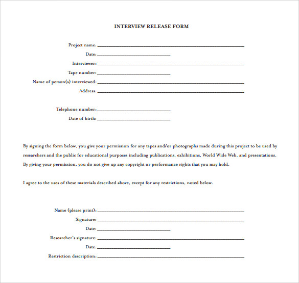 Video Release Form. Online Business Forms; Templates For Every