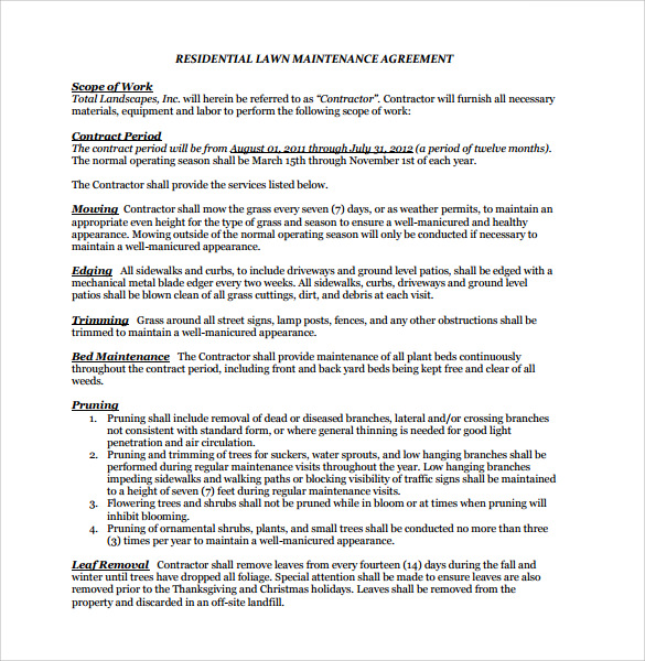 lawn service contract template free - Maintenance Service Contract Sample