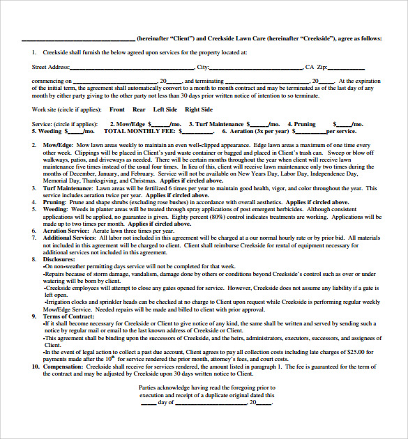 sample lawn service contract template free