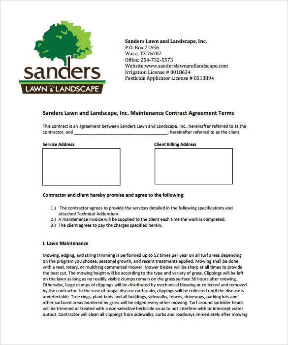 Lawn Service Contract Template   Download Documents In Pdf